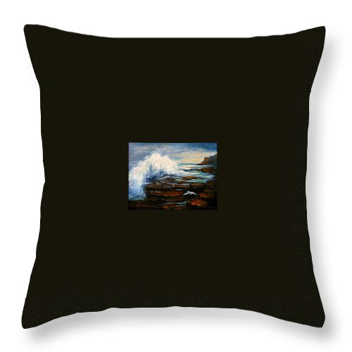 Seascape Throw Pillow featuring the painting After The Storm by Gail Kirtz