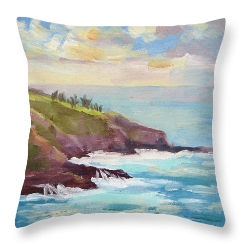 Hawaii Throw Pillow featuring the painting After The Storm Maui by Karin Leonard