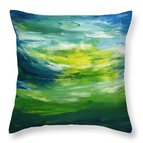 Woodland Throw Pillow featuring the painting Afterglow by Christine Cobden