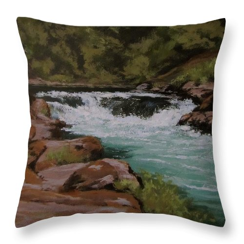 River Throw Pillow featuring the painting Afternoon At The Narrows by Karen Ilari