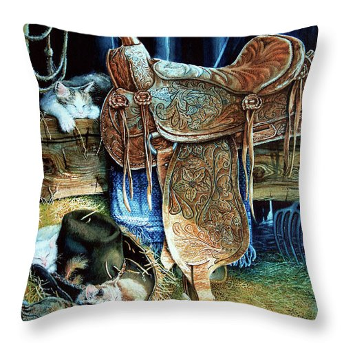Saddle Throw Pillow featuring the painting Afternoon Delight by Hanne Lore Koehler