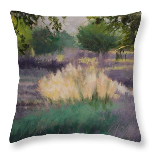 Nature Throw Pillow featuring the painting Afternoon Grasses by Robert Rohrich
