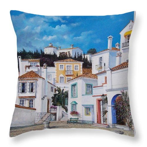 Cityscape Throw Pillow featuring the painting Afternoon Light In Montenegro by Sinisa Saratlic
