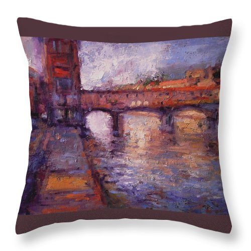 Arno Throw Pillow featuring the painting Afternoon On The Arno by R W Goetting