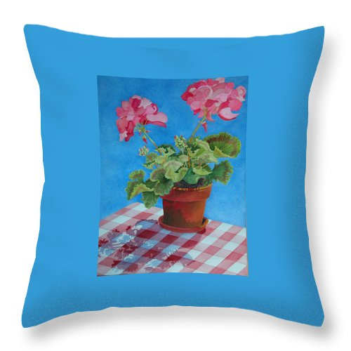 Floral. Duvet Throw Pillow featuring the painting Afternoon Shadows by Mary Ellen Mueller Legault