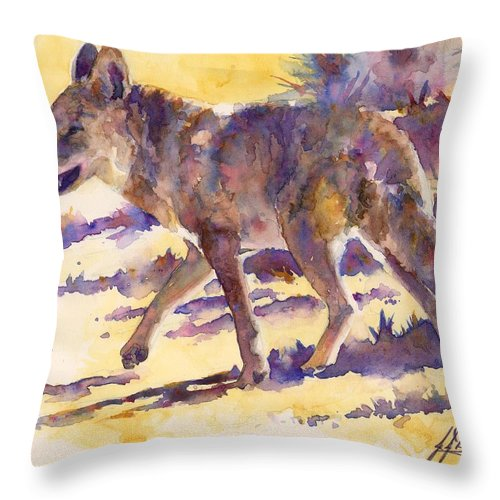 Coyote Throw Pillow featuring the painting Afternoon Stroll by John Dougan