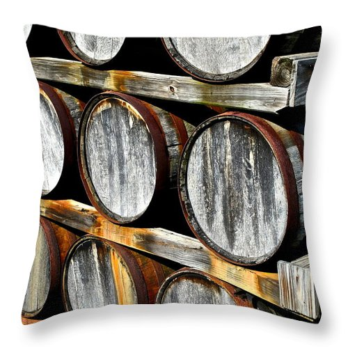 Wine Throw Pillow featuring the photograph Aged Wine by Frozen in Time Fine Art Photography
