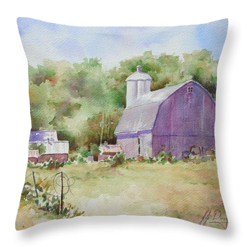Throw Pillow featuring the painting Aged Wood Broken Wire by John Dougan