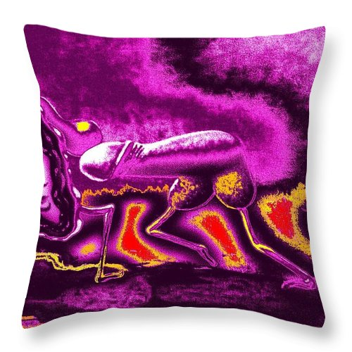 Genio Throw Pillow featuring the mixed media Agreeable Desire In Red And Pink by Genio GgXpress