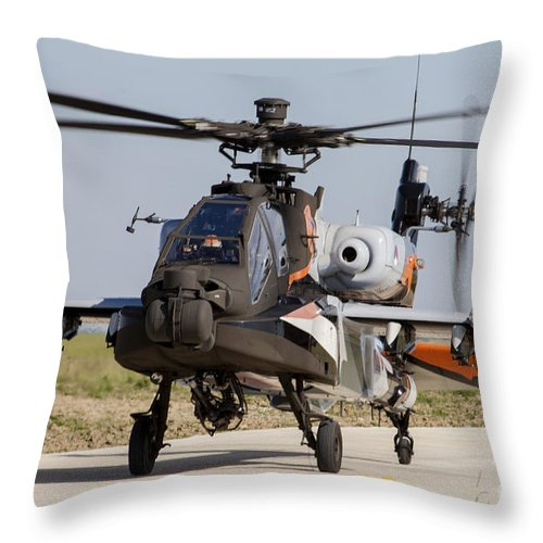 Phalsbourg Throw Pillow featuring the photograph Ah-64d Apache Longbow Of The Royal by Timm Ziegenthaler