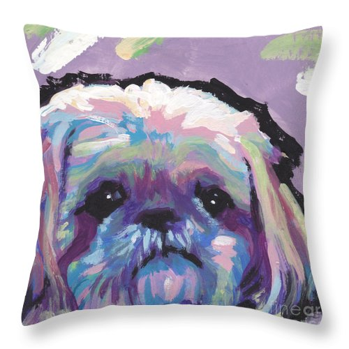 Shih Tzu Throw Pillow featuring the painting Ah Shitzy by Lea S