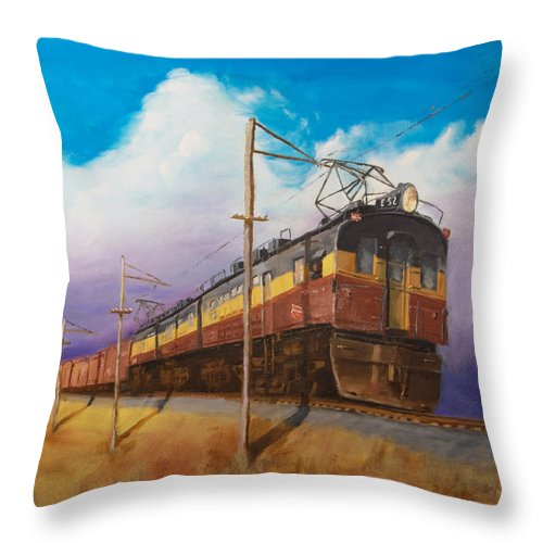 Electric Locomotive Throw Pillow featuring the painting Ahead Of The Weather by Christopher Jenkins