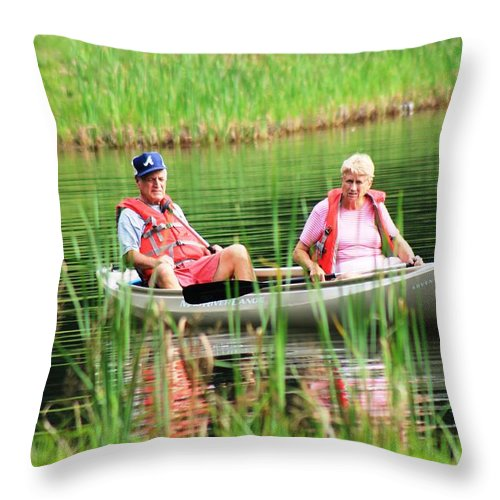 Reflections Throw Pillow featuring the photograph Ain't No Fish In Here by Robin Vargo