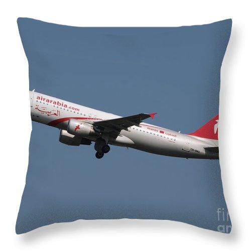 737 Throw Pillow featuring the photograph Air Arabia Maroc Airbus A320 by Paul Fearn