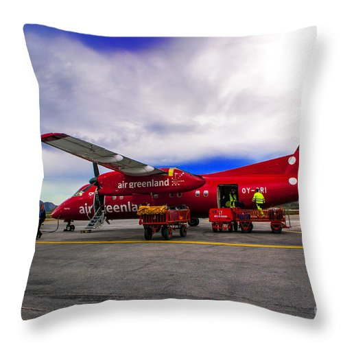 Greemland Throw Pillow featuring the photograph Air Greenland by Roberta Bragan