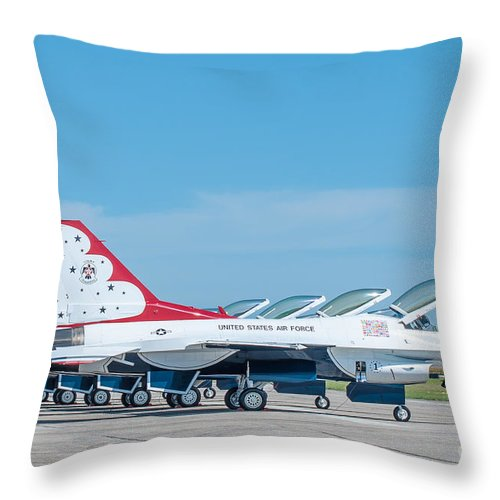 Navy Throw Pillow featuring the photograph Air Show Thunderbirds by Amel Dizdarevic