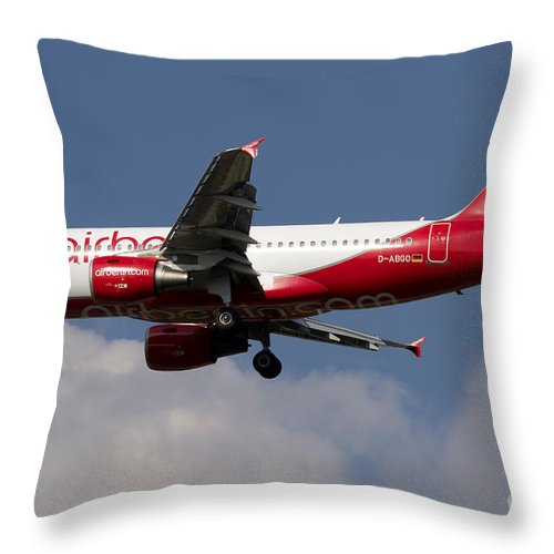 Sky Throw Pillow featuring the photograph Airbus A320 Of Air Berlin by Luca Nicolotti