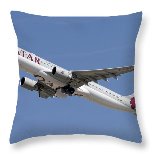 Sky Throw Pillow featuring the photograph Airbus A330-300 Of Qatar Airways by Luca Nicolotti