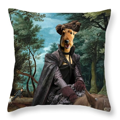 Airedale Terrier Throw Pillow featuring the painting Airedale Terrier Art Canvas Print - Forest Landscape With Deer Hunting And Noble Lady by Sandra Sij