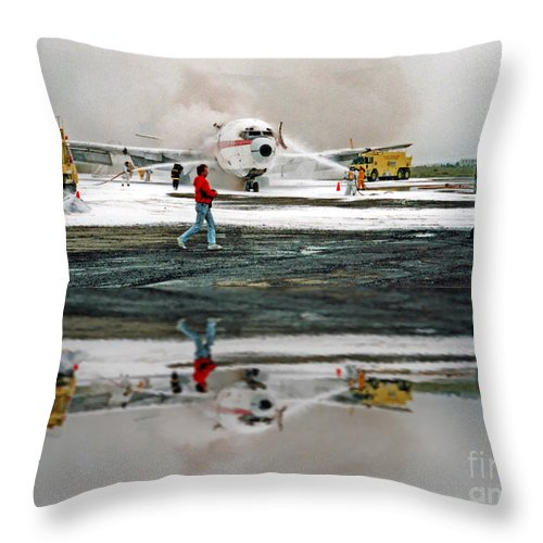 Airplane Crash Drill Throw Pillow featuring the photograph Airplane Crash Drill Landscape Altered Version by Jim Fitzpatrick