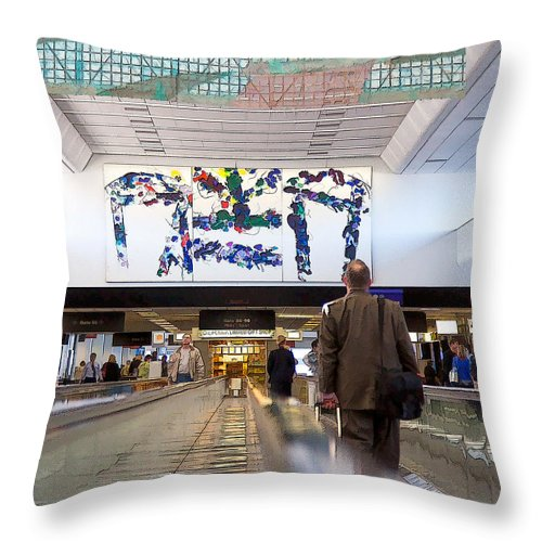Dan Sabin Throw Pillow featuring the photograph Airport Dreadmill by Dan Sabin