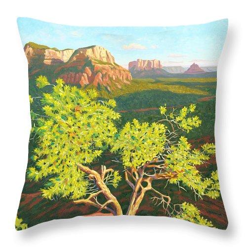Pinion Pine Tree Throw Pillow featuring the painting Airport Mesa Vortex - Sedona by Steve Simon