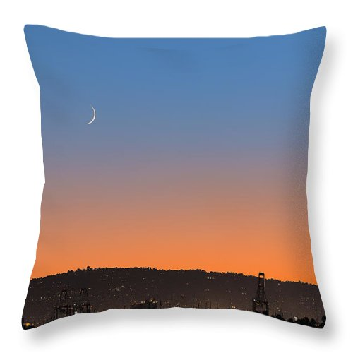Nature Throw Pillow featuring the photograph Ajs Moonset Byu Denise Dube by Denise Dube