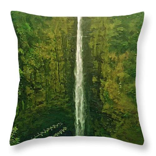Akaka Falls Throw Pillow featuring the digital art 'akaka Falls by Dale Jackson