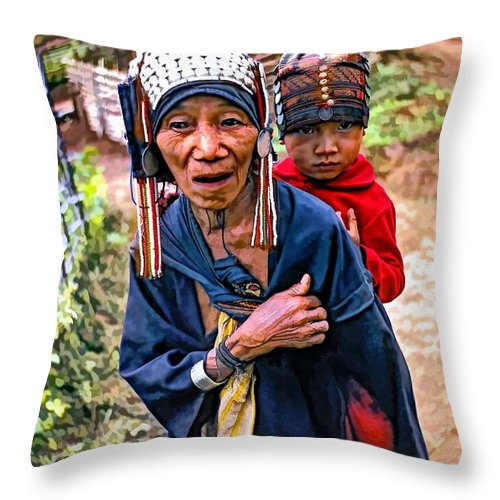 Akha Throw Pillow featuring the photograph Akha Tribe II Paint Filter by Steve Harrington