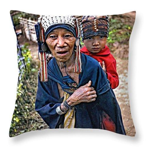 Akha Throw Pillow featuring the photograph Akha Tribe II by Steve Harrington