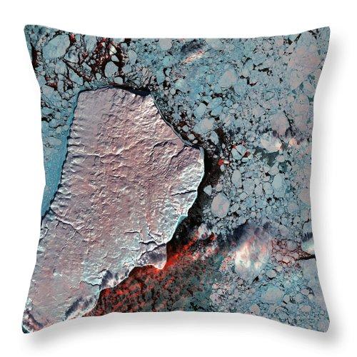 Akpatok Island Throw Pillow featuring the photograph Akpatok Island by USGS Landsat