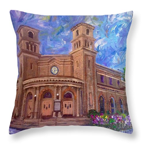1411 Oak Street 94501 Throw Pillow featuring the painting Alameda 1909 Twin Towers Church - Italian Renaissance by Linda Weinstock