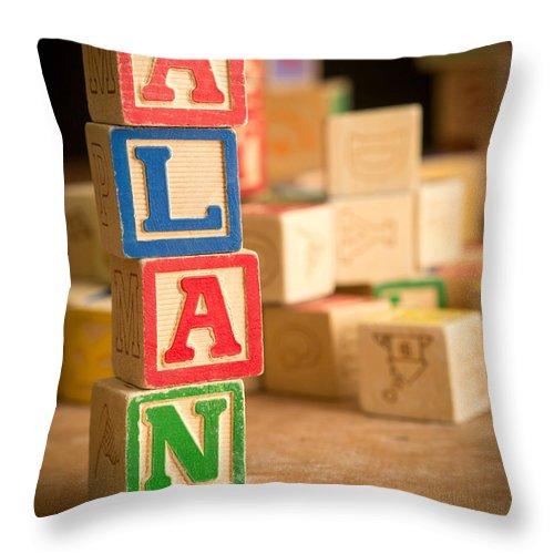 Abs Throw Pillow featuring the photograph Alan - Alphabet Blocks by Edward Fielding