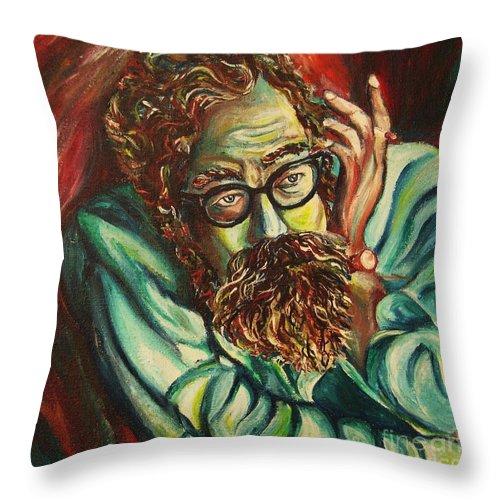 Allen Ginsberg Throw Pillow featuring the painting Alan Ginsberg Poet Philosopher by Carole Spandau