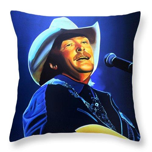Alan Jackson Throw Pillow featuring the painting Alan Jackson Painting by Paul Meijering