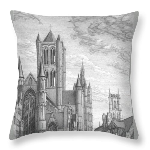 History Throw Pillow featuring the drawing Alarming Morning In Ghent. The Left Part Of The Triptych - The Age Of Cathedrals by Irina Sumanenkova