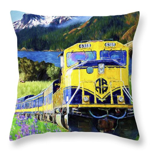 Railroad Throw Pillow featuring the painting Alaska Railroad by David Wagner