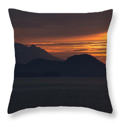 Alaska Panorama Throw Pillow featuring the photograph Alaskan Mountain Sunset by Martin Belan