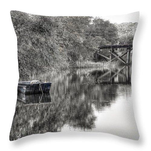 Abandoned Throw Pillow featuring the photograph Albergottie Creek Trestle by Scott Hansen