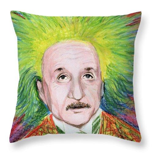 Albert Einstein Throw Pillow featuring the drawing Albert Einstein by Yoshiko Mishina