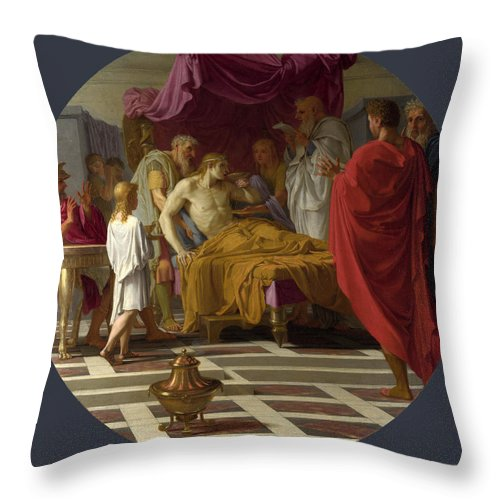 Eustache Le Sueur Throw Pillow featuring the painting Alexander And His Doctor by Eustache Le Sueur