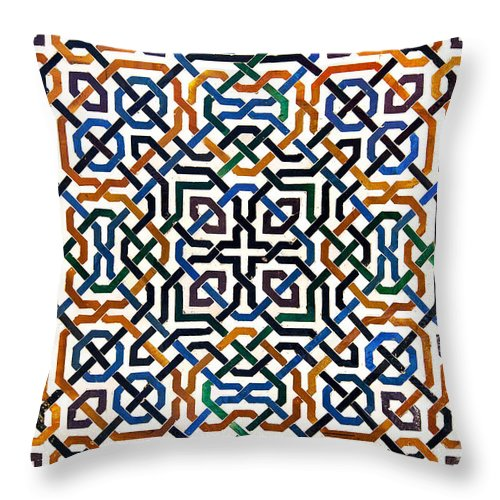 Alhambra Throw Pillow featuring the photograph Alhambra tile detail by Jane Rix