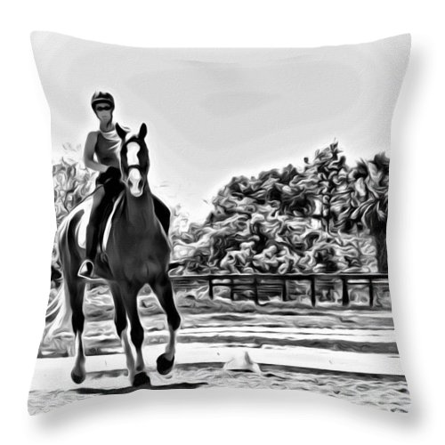 Horse Rider Lady English Black White Throw Pillow featuring the photograph Alice And Red by Alice Gipson