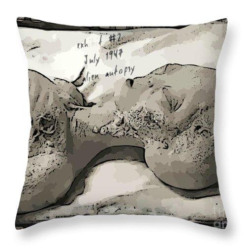 Alien Art Throw Pillow featuring the digital art Alien Art by John Malone