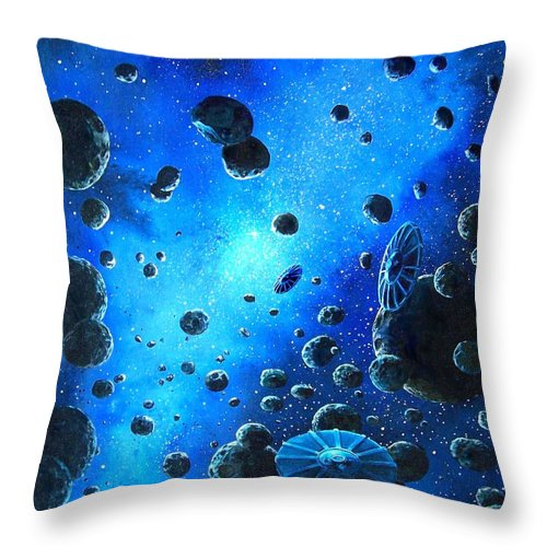 (space Ships) Throw Pillow featuring the painting Alien Flying Saucers by Murphy Elliott