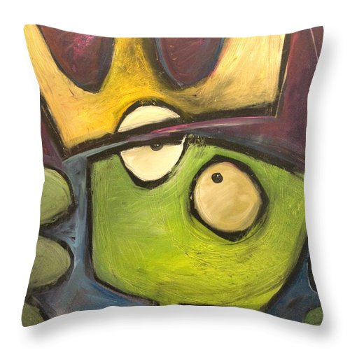 Alien Throw Pillow featuring the painting Alien King by Tim Nyberg