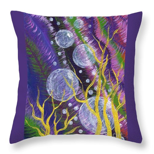 Bubbles Throw Pillow featuring the painting Alien Sea by Vicki Maheu