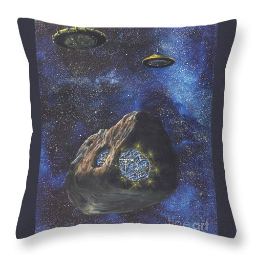 Painting Throw Pillow featuring the painting Alien Space Factory by Murphy Elliott