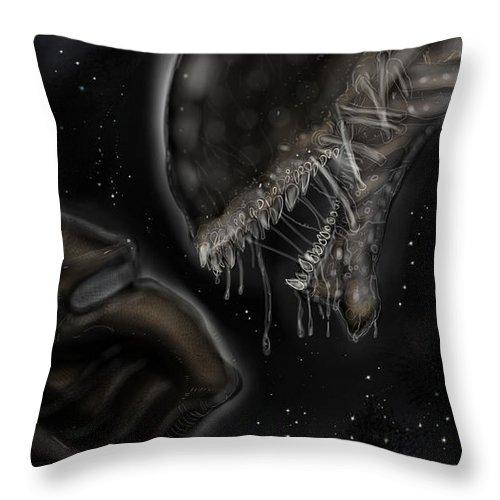 Throw Pillow featuring the digital art Alien Vs Predator by Tommy Villarreal