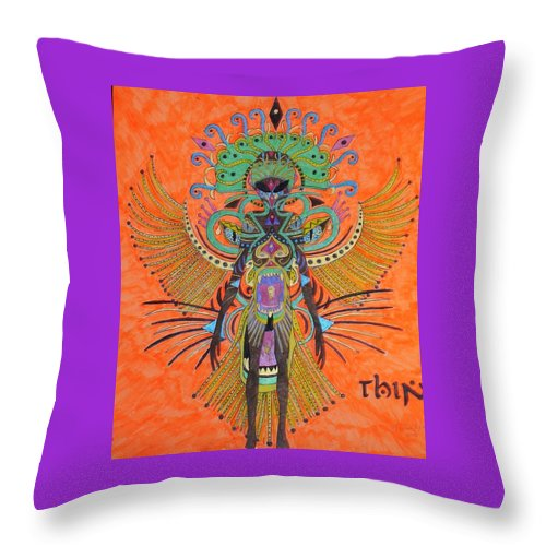 Alien Throw Pillow featuring the painting Alien With Thing by Michael Pasko